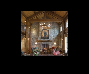 Harley shown on stone fireplace